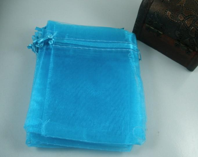 100 قطع السماء الزرقاء أكياس الأورجانزا هدية تباع لكل كيلوجرام 7x8.5 سنتيمتر / 9x12 cm / 13x18 سنتيمتر 4 بوصة مع الرباط حفل زفاف عيد الميلاد أكياس هدية
