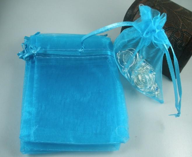 100 Stück himmelblaue Organza-Geschenktüten, 7 x 8,5 cm / 9 x 12 cm / 13 x 18 cm, 4 Zoll, mit Kordelzug, Geschenkbeutel für Hochzeitsfeiern und Weihnachtsgeschenke