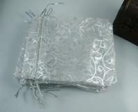 ingrosso sacchetti di regalo d'argento dell'organza-Caldo ! Sacchetti regalo in organza modello Sopracciglia argento caldo bianco 100 pz, 7 x 8,5 cm / 4 pollici con coulisse. (003588)