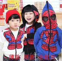 Wholesale Outwear Jacket Popular Tops - Wholesale - boys zipper Spider-Man coat kids long sleeve outwear children popular tops autumn clothing black blue hzgggmy