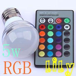Wholesale Ir Led Cree - 5W E27 RGB 16 Colors LED Light Bulb Lamp Spotlight 85-265V with 24keys IR Remote Control