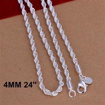 Men's 4mm 24'' 60cm 925 sterling silver necklace chain n067 gift pouches free shipping