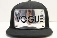 Wholesale Vogue Snapback Hat - Solid Color VOGUE Snap Back Baseball Hat Snapback Cap Adjustable Fashion Men Hiphop Caps Punk Style Unisex Hiphop Hats Ourdoor Bboy Cap