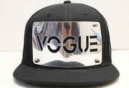 Wholesale Punk Snap Back Hat - Solid Color VOGUE Snap Back Baseball Hat Snapback Cap Adjustable Fashion Men Hiphop Caps Punk Style Unisex Hiphop Hats Ourdoor Bboy Cap