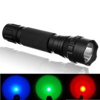 linternas de luz azul al por mayor-USA EU Hot Sel WF-501B CREE Q5 Blanco Rojo Verde Azul LED Linterna Antorcha Luz de lámpara de señal para 1x18650 o 2xCR123A - Puede OEM