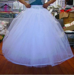 Wholesale Tulle Crinoline Skirt - 2017 Unique Petticoat for Ball Gowns Bridal Accessories Wedding Full Length Crinoline 3 Hoops with Hard Tulle Bone Skirt