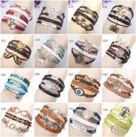 Wholesale Silver Charm Link Chain Set - Infinity Bracelets Mix 16 Style Lots Fashion Jewelry Wholesale Leather Infinity Charm Bracelet Vintage Accessories Lover Gifts