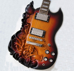 Wholesale Hand Carved Skull - 2013 SG Carved Skull Electric Guitar With Ash body Sunburst color Free Shipping