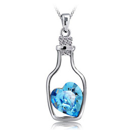 Wholesale Aquamarine Pendants Sterling Silver - Drifting Bottle Pendant Aquamarine 925 Sterling Silver Love Charm Necklace Crystal Pendant European and American Women Wedding Jewelry 10pcs