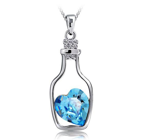Drifting Bottle Pendant Aquamarine 925 Sterling Silver Love Charm Necklace Crystal Pendant European and American Women Wedding Jewelry 10pcs