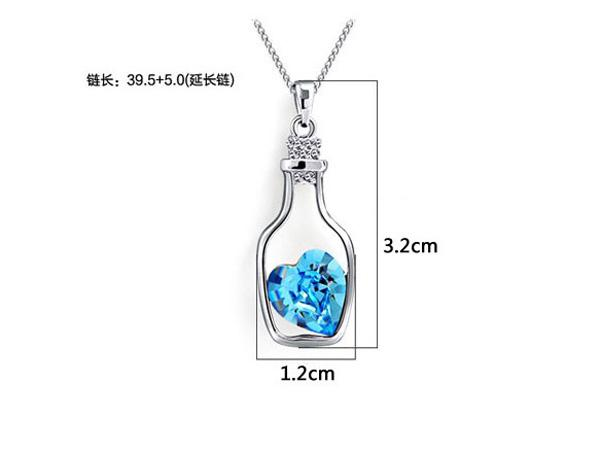 Drifting Bottle Pendant Aquamarine 925 Sterling Silver Love Charm Necklace Crystal Pendant European and American Women Wedding Jewelry