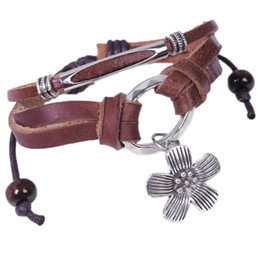 rope cans UK - Punk Rock Leather Bracelets Charm Flower Pendant Can Adjusted Size Lover Gifts Bracelet Fashion Jewelry B25A
