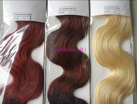 Wholesale 22 Wavy Blonde Hair Extensions - MIRACLE 100gram piece lightest blonde wavy Human REMY Hair Weaves Hair Weft Extension