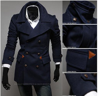Wholesale Short Wind Coat - Free shipping!Woolen. Winter Men's Double-breasted Overcoat Single-breasted Coat Short Design Woolen Wind Coat Men Trench Coats! Leisure