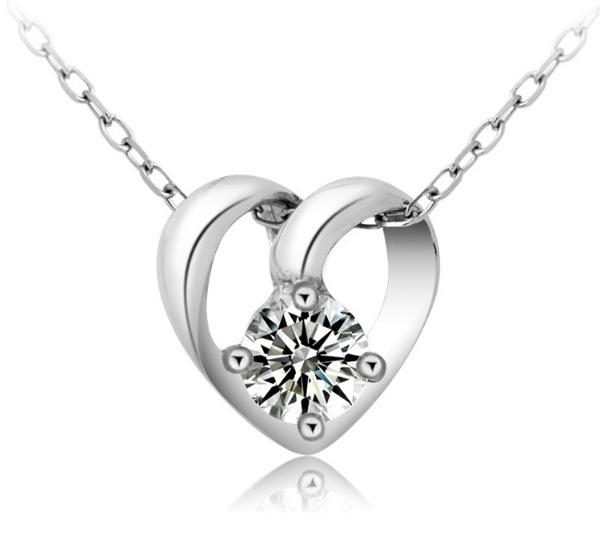 Amor corazón colgante 925 plata esterlina collar de boda cristal colgante europeo y americano mujeres damas joyería mxza moda coreano