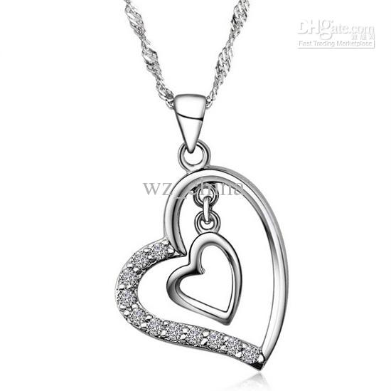 New Silver Heart Pendant 925 Sterling Silver Love Charm Necklace Crystal Drop Double Love Pendant European and American jewelry