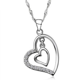 Wholesale Double Hearts Silver Necklace - New Silver Heart Pendant 925 Sterling Silver Love Charm Necklace Crystal Drop Double Love Pendant European and American jewelry 10pcs lot