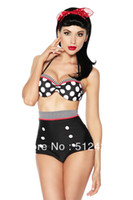Wholesale Swimsuit Pin Up - Vintage High Waist Polka Dot Bikini Set Cutest Retro Swimsuit Pin Up Swimwear S M L XL Free Shipping