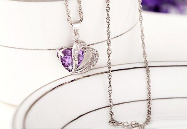 Weißgold Anhänger 925 Sterling Silber Liebe Charme Halskette Amethyst Anhänger Luxuriöses Herz Kristall Hochzeit Schmuck für Frauen