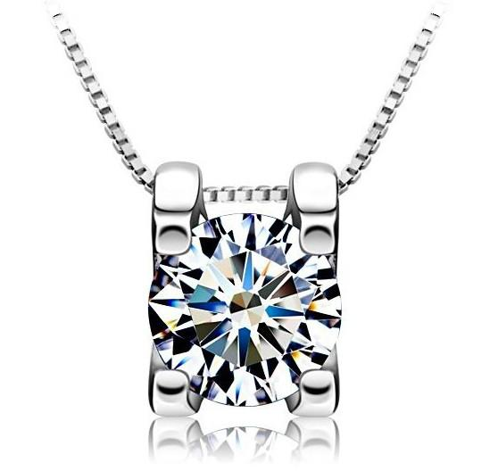 Square Diamond Pendant White Gold Overlay 925 Sterling Silver Necklace Pendant Luxurious Square Crystal Jewelry For Women 6mm/8mm Fashion Ne