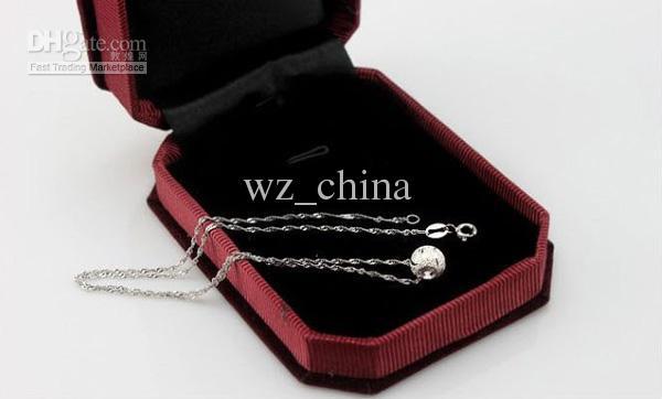 Collar colgante de la superposición de oro blanco 30% 925 Bola de plata esterlina bolas Collar 8mm Silver Spacer Bead Locket Stone Mujeres Colgante Freeshippi