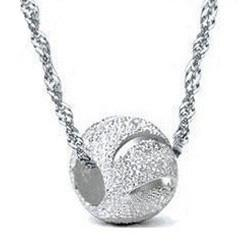 bead necklace gold balls Coupons - White Gold Overlay Pendant Necklace 30% 925 Sterling Silver Ball Beads Necklace 8mm Silver Spacer Bead Locket Stone Women Pendant Freeshippi
