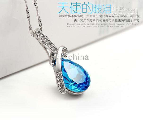 925 Sterling Silber Anhänger Halskette Luxuriöse Blaue Österreichische Kristall Engels Träne Saphir Schmuck Böhmische Frauen Hochzeit Anhänger Nagelneu