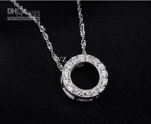 925 Ayar Gümüş Kolye Kolye Lüks Avusturyalı Kristal Yuvarlak Bronz Kolye Kadınlar Güzel Yaka Kolye Moda