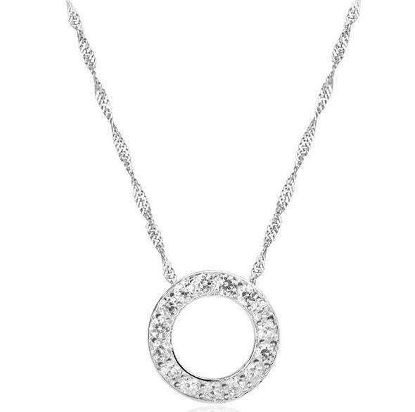 925 Collar colgante de plata esterlina Lujoso Austrian Crystal Redondo Redondo Colgante Mujeres Hermoso Collar Collar Moda