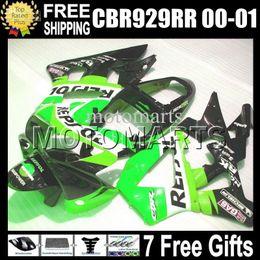 $enCountryForm.capitalKeyWord Australia - 7gifts For HONDA 00 01 CBR 929 929RR CBR929RR 900RR green black Free Customized MS6556 CBR900RR 2000 2001 CBR929 RR ABS Repsol Green Fairing