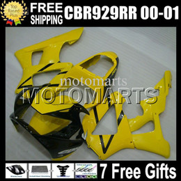 Wholesale Honda 929rr - Yellow black 7gifts Free Customized For HONDA CBR929RR 00 01 CBR 929 929RR MS658 NEW Yellow 900RR CBR900RR CBR929 RR 2000 2001 Fairing Body