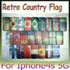 New Retro Country Flag Case Hard Back Cover Shell Case for iPhone4 4S 5G 5S Many Countries 30PCS Free Shipping