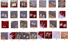 Wholesale Earrings Hooks Mixed - 30 pairs   lot 925 silver earrings mixed 30 style hanging hook earrings