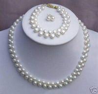 ingrosso orecchino rosa della collana della perla-New Fine Genuine gioielli con perle Set naturale 7-8mm naturale bianco rosa coltivate akoya collana di perle bracciali orecchino