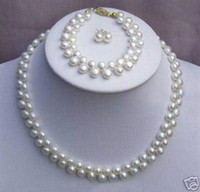 Wholesale Natural Pearls Wedding Necklaces - New Fine Genuine Pearl Jewelry Set Natural 7-8mm natural white cultured akoya pearl necklace bracelets earring