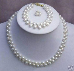 Wholesale Genuine Cultured Pearls - New Fine Genuine Pearl Jewelry Set Natural 7-8mm natural white cultured akoya pearl necklace bracelets earring