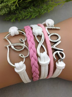 Wholesale Pinks One Direction - Bracelet Infinity handmade leather bracelets heart to heart Love Charm Bracelet in Silver Bracelet pink Wax Cords one direction jewelry hy3