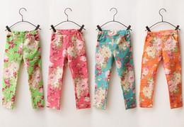 Wholesale G Wholesale Kids Clothing - Wholesale - 2013 girls jeans Leggings Korean flowers children floral Leggings fashion girls pants kids jeans long Denim pants kids clothes g