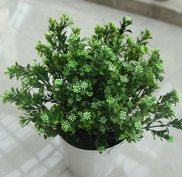 Plastic Green Plant 25cm Artificial Greenery Simulation Green Color Plastic Grass Clover Araucaria Bush Floral Accessories