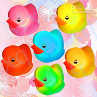 Wholesale Cute Boys Bath - Wholesale - Baby Bath Toy Yellow Duck Multi Light Color LED Lamp,cute baby kids toys Free shipping
