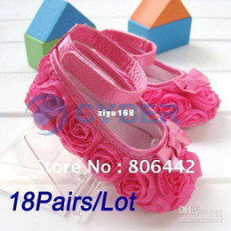 Wholesale Hot Pink Mary Jane Shoes - Wholesale - 18Pairs Lot Hot Sale Pink Mary Jane Infant Baby Shoes Girls Toddler Soft Sole with Rose Flowers Size
