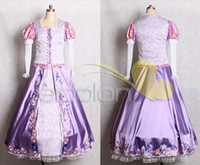 Wholesale Cheap Japanese Cosplay - Hot Sell Cheap Custome Made Rapunzel Dress Princess Dress Cosplay Costume Christmas Clothing Patent Satin High Quality
