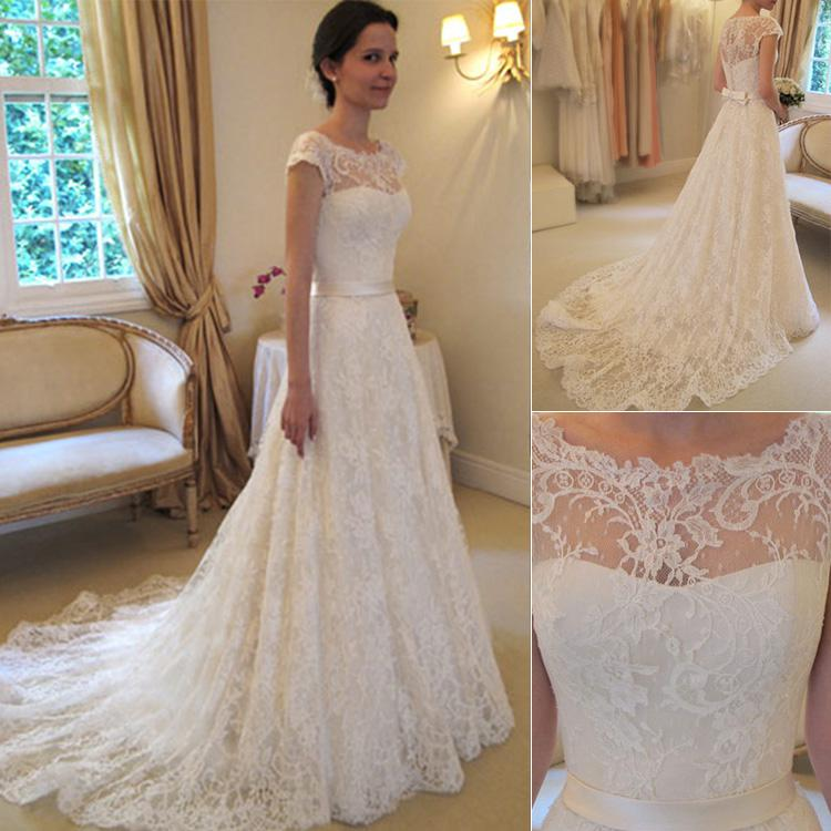 2016 Vintage Lace A Line Wedding Dresses Bateau Short Sleeve Bridal Dresses Chapel Wedding High Quality Court Train Custom 2015 White Zipper
