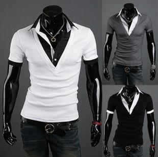 2018 England Cool Mens Cotton T Shirts Fake Piece V Neck Short ...
