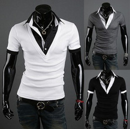 Wholesale Polo Neck Dress - England Cool Mens Cotton T Shirts Fake piece V Neck Short Sleeve Slim Polo Shirts Mens Tops M L XL XXL G0203