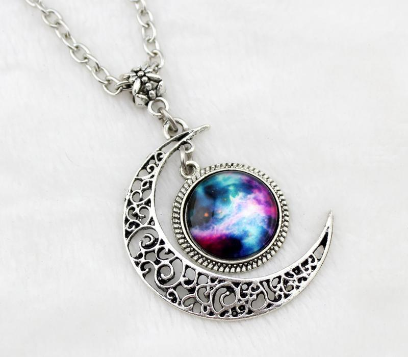 Free shipping! Moon necklace ,Charm necklace,Silver hollow star galactic cosmic moon necklace