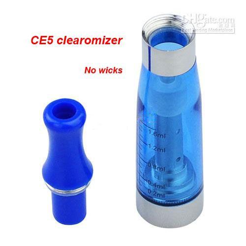 CE5 Clearomizer 없음 윅 원자로 1.6ML Clearomizer 기화기 eGo-T, eGo-C, eGo-W 및 510 스레드 자아 담배 다채로운 카트리지
