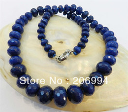 """Wholesale Blue Sapphire Faceted Gemstones - free shipping 8-18mm Faceted Deep Blue Sapphire Gemstone Roundel Beads Necklace 19"""" fashion jewelry gift"""