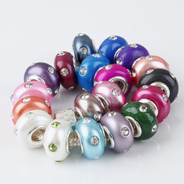 Wholesale european rondelle crystal - 100pcs Clear Crystal Polymer Clay Rondelle Big Hole Spacer Beads Loose beads Fit European Bracelet jewelry findings