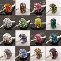 Grossiste 100PCS / LOT 14mm Multicolore Cristal Rhinestone Charm Big Perles Spacer Perles Fit Européenne Bracelets Bijoux